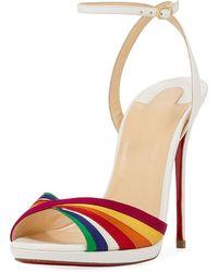 Christian Louboutin | Naseeba Strappy Rainbow Red Sole Sandal | Lyst