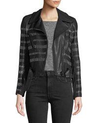 Nour Hammour - Stud-striped Leather Moto Jacket - Lyst