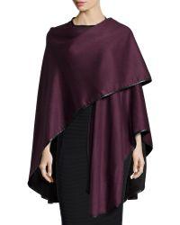 Sofia Cashmere - Double Face Cashmere Reversible Cape W/leather Trim - Lyst