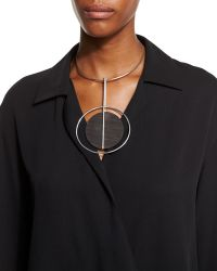 Ralph Lauren - Round Wood Pendant Necklace - Lyst