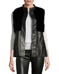 J. Mendel Mink Fur-trim Leather Vest - Black