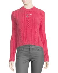 Thierry Mugler - Cable-knit Sweater W/metallic Bar Details - Lyst