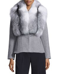 Jonathan Simkhai - Wool-cashmere Coat W/removable Fox Fur Collar - Lyst