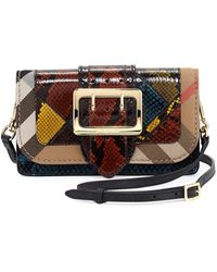 Burberry - The Medium Buckle Bag – Square In Leather And House Check - Lyst 03c1a0516f