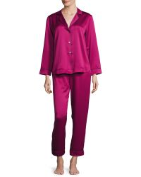 Oscar de la Renta - Matte Satin Two-piece Pyjama Set - Lyst