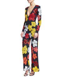 Naeem Khan - Beaded Floral Long-sleeve Jumpsuit - Lyst