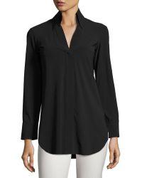 La Petite Robe Di Chiara Boni - Atena Long-sleeve Jersey Blouse - Lyst