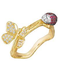 Mimi So - 18k Gold & Gem-set Ladybug & Butterfly Band Ring - Lyst
