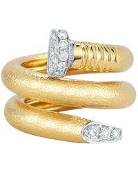 "David Webb - Hammered 18k Yellow Gold & Diamond ""nail"" Ring - Lyst"