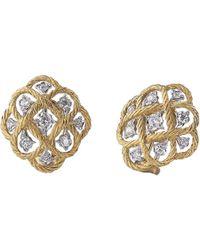 """Buccellati - 18k Gold & Diamond """"etoilee"""" Button Earrings - Lyst"""