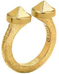 "David Webb - Hammered 18k Yellow Gold ""bastille"" Ring - Lyst"