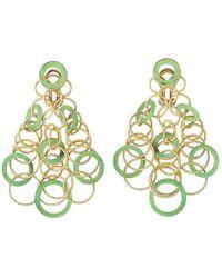 """Buccellati - 18k Yellow Gold & Jadeite """"hawaii"""" Chandelier Earrings - Lyst"""