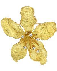 Tiffany & Co | 14k Yellow Gold & Diamond Flower Pin | Lyst