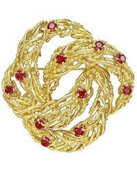 Tiffany & Co | 18k Yellow Gold & Ruby Wreath Pin | Lyst