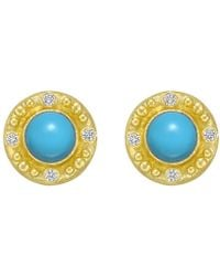 Elizabeth Locke - 19k Yellow Gold & Turquoise Earrings - Lyst