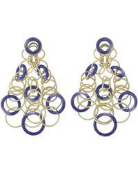 """Buccellati - 18k Yellow Gold & Lapis """"hawaii"""" Chandelier Earrings - Lyst"""