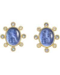 Elizabeth Locke - 19k Yellow Gold & Venetian Glass Intaglio Earrings - Lyst