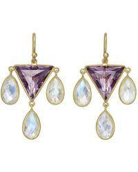Kothari - Amethyst & Moonstone Drop Earrings - Lyst
