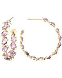 """Paolo Costagli - Medium Pink Sapphire """"ombre"""" Hoop Earrings - Lyst"""