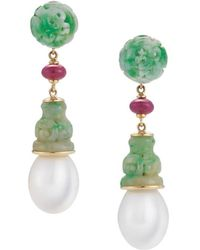 "Seaman Schepps - Jadeite, Ruby & Pearl ""canton"" Drop Earrings - Lyst"