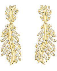 "Mimi So - 18k Yellow Gold & Diamond ""phoenix"" Feather Drop Earrings - Lyst"