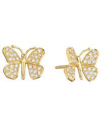 Mimi So - Small 18k Yellow Gold & Diamond Butterfly Earrings - Lyst