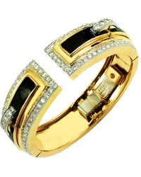 David Webb 18k Gold Baby Frog Cuff Bracelet in Black Enamel CGLqAC