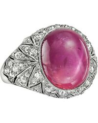 Cartier - Art Deco Star Pink Sapphire & Diamond Ring - Lyst