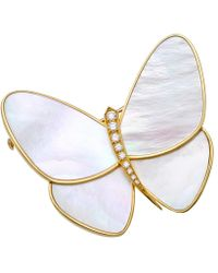 Van Cleef & Arpels - Mother-of-pearl & Diamond Papillon Clip Pin - Lyst