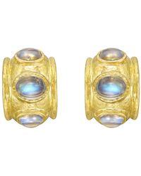Elizabeth Locke - 19k Yellow Gold & Moonstone Hoop Earrings - Lyst