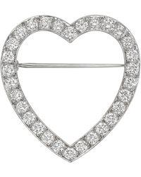 Tiffany & Co | Platinum & Diamond Heart Pin | Lyst