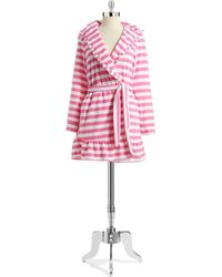 Betsey Johnson Striped Terry Cloth Robe - Lyst