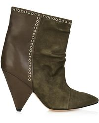 Isabel Marant Lance Suede And Leather Ankle Boots - Lyst