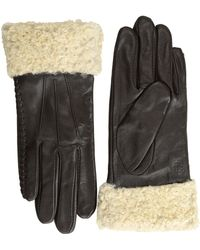 Lauren by Ralph Lauren Shearling Cuff Leather Glove - Lyst