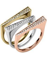 Michael Kors Tricolor Pave 3-ring Set - Lyst