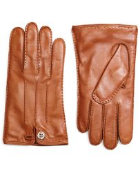 Brooks Brothers Cognac Gloves with Button Closure - Lyst