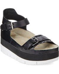 Ash Vera Embossed-Leather Flatform Sandals - Lyst
