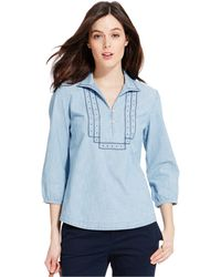 Tommy Hilfiger Embroidered Chambray Peasant Top blue - Lyst