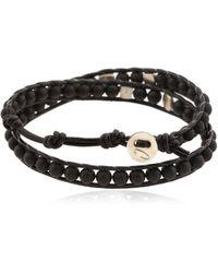 Colana - Silver & Onyx Wrap Bracelet - Lyst