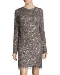 Monique Lhuillier Long Sleeve Embellished Dress - Lyst