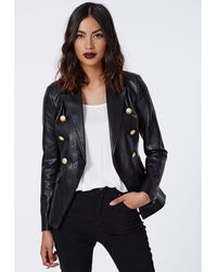 Missguided Bettie Faux Leather Blazer Black - Lyst