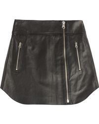 McQ by Alexander McQueen Leather Biker Skirt - Lyst