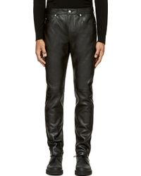 McQ by Alexander McQueen Black Panelled Leather Trousers - Lyst