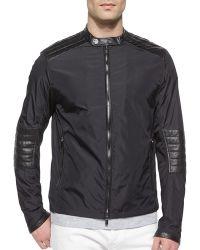 Michael Kors Nylon Moto Jacket With Leather Trim - Lyst