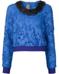 Monique Lhuillier - Beaded Collar Lace Sweatshirt - Lyst