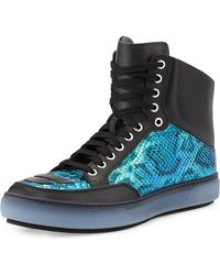 Alejandro Ingelmo Iridescent Snakeembossed Leather Sneaker Green - Lyst