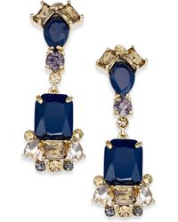 Kate Spade New York Gold-tone Blue Stone Linear Drop Earrings - Lyst