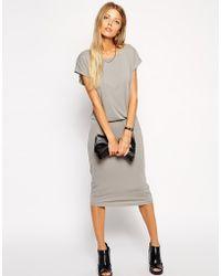 Asos Body-conscious Midi Dress with Drape - Lyst