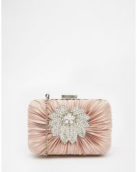Vintage Styler | Box Clutch With Floral Brooch Detail In Nude | Lyst