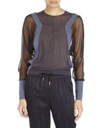 Balenciaga Sheer Color Block Silk Blouse black - Lyst